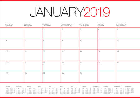January 2019 desk calendar vector illustration, simple and clean design.