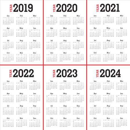 Jaar 2019 2020 2021 2022 2023 2024 kalender vector ontwerpsjabloon, eenvoudig en schoon ontwerp