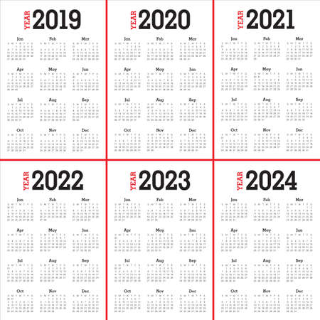 Year 2019 2020 2021 2022 2023 2024 calendar vector design template, simple and clean design
