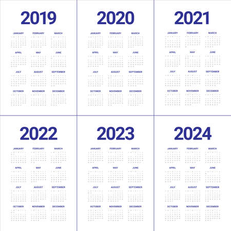 Year 2019 2020 2021 2022 2023 2024 calendar vector design template, simple and clean design  イラスト・ベクター素材