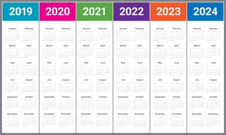 Year 2019 2020 2021 2022 2023 2024 calendar vector design template, simple and clean design Vectores