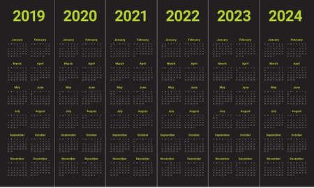 Year 2019 2020 2021 2022 2023 2024 calendar vector design template, simple and clean design Ilustrace
