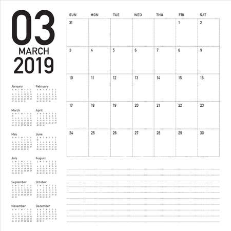 March 2019 desk calendar vector illustration, simple and clean design.