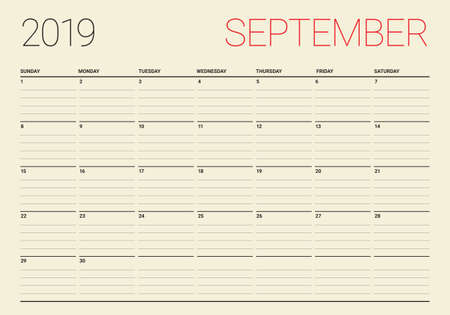 September 2019 desk calendar vector illustration, simple and clean design.