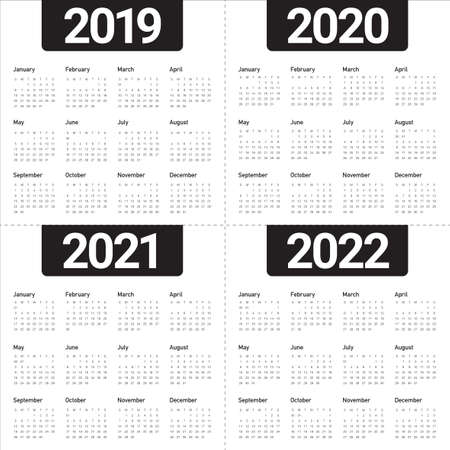 Year 2019 2020 2021 2022 calendar vector design template, simple and clean design