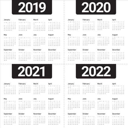 Jaar 2019 2020 2021 2022 kalender vector ontwerpsjabloon, eenvoudig en schoon ontwerp