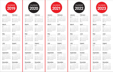 Year 2019 2020 2021 2022 2023 calendar vector design template, simple and clean design