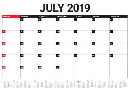 July 2019 desk calendar vector illustration, simple and clean design.