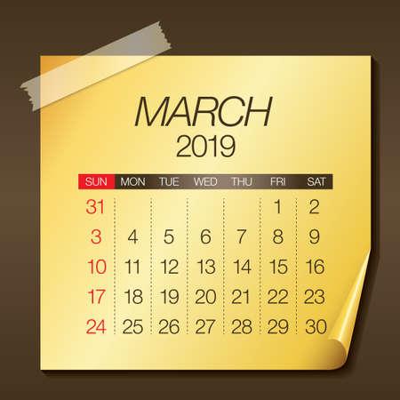 Ilustración de vector de calendario mensual de marzo de 2019, diseño simple y limpio.