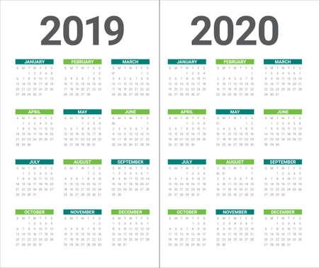 Jaar 2019 2020 kalender vector ontwerpsjabloon, eenvoudig en schoon ontwerp