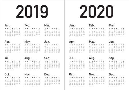 Anno 2019 2020 modello di progettazione di vettore del calendario, design semplice e pulito Vettoriali