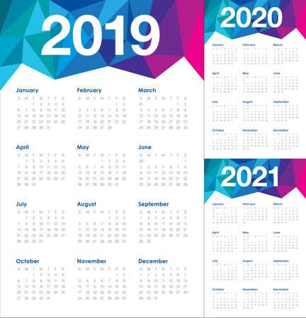 Anno 2019 2020 2021 modello di progettazione di vettore del calendario, design semplice e pulito