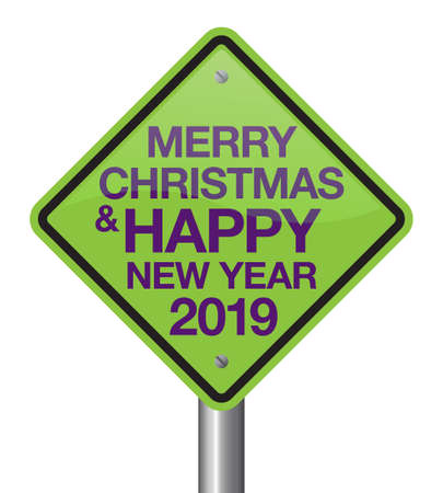 Christmas day road sign design. Christmas day is coming, wish you all the best as always in this coming new year. Ilustração