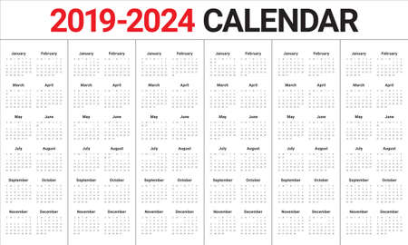 Year 2019 2020 2021 2022 2023 2024 calendar vector design template,