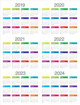 Year 2019 2020 2021 2022 2023 2024 calendar vector design template, simple and clean design Illustration