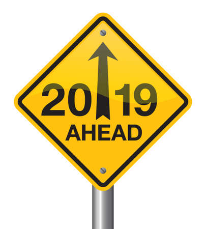 Vector illustration of road sign 2019. New Year is coming, wish you all the best as always in this coming new year. Illustration