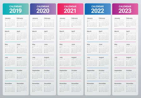 Anno 2019 2020 2021 2022 2023 modello di progettazione di vettore del calendario, design semplice e pulito