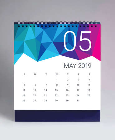 Simple desk calendar for May 2019