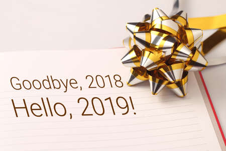 Goodbye 2018 welcome 2019 with decoration. We wish you a new year filled with wonder, peace, and meaning. Stockfoto