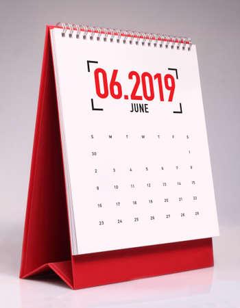 Simple desk calendar for June 2019