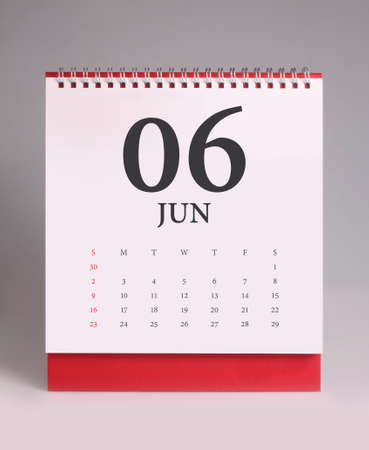 Simple desk calendar for June 2019