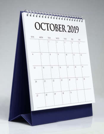 Simple desk calendar for October 2019 Stockfoto