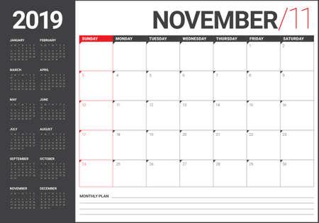 November 2019 desk calendar vector illustration, simple and clean design. Banco de Imagens - 126954189