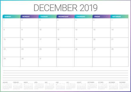 December 2019 desk calendar vector illustration, simple and clean design.