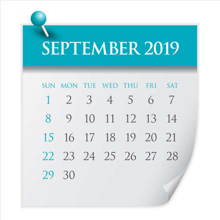 September 2019 monthly calendar vector illustration, simple and clean design.
