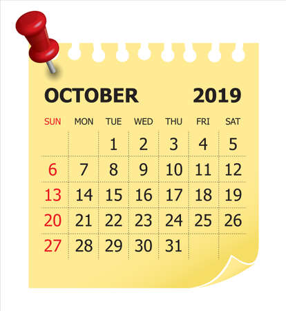 October 2019 monthly calendar vector illustration, simple and clean design.