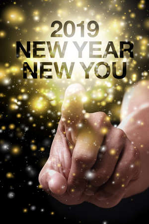 New Year New You with hand. New year is the first day of the year in the Gregorian calendar.