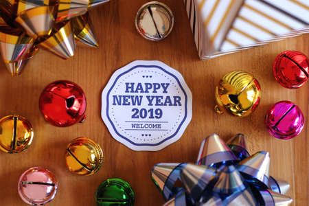 Happy new year 2019 with colorful decoration. New year is the first day of the year in the Gregorian calendar.