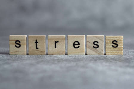 Stress word written on wood cube with gray background. Imagens
