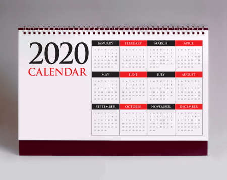 Simple desk calendar for year 2020