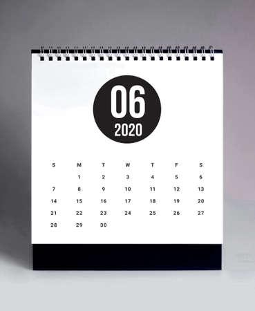Simple desk calendar for  June 2020