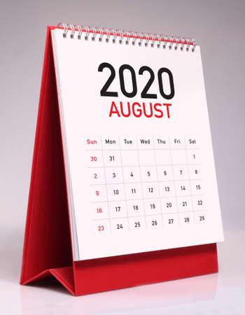 Simple desk calendar for August 2020