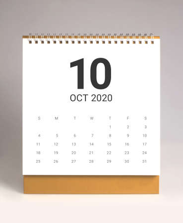 Simple desk calendar for October 2020