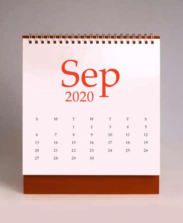 Simple desk calendar for September 2020