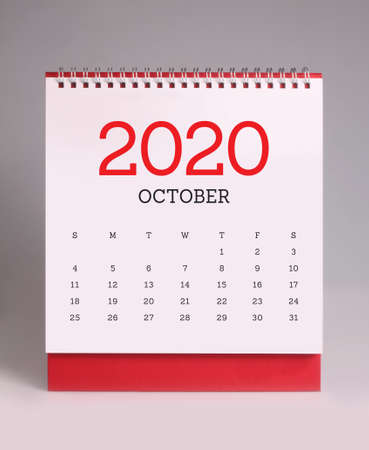 Simple desk calendar for October 2020