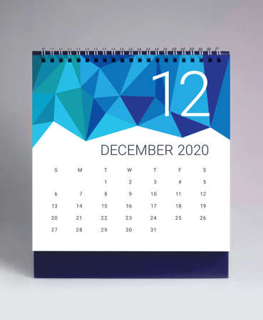 Simple desk calendar for December 2020
