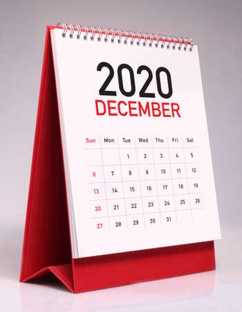 Simple desk calendar for December 2020