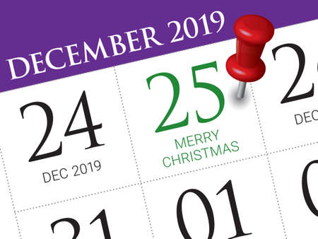 Close up of christmas day 2019 on diary calendar. Wishing you wonderful memories during this joyous season.