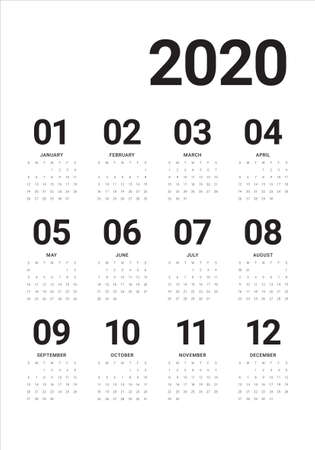 Year 2020 calendar vector design template, simple and clean design Ilustração