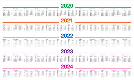 Year 2020 2021 2022 2023 2024 calendar vector design template, simple and clean design