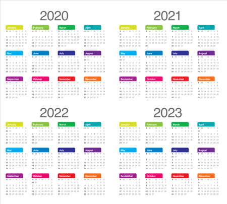 Year 2020 2021 2022 2023 calendar vector design template, simple and clean design Çizim