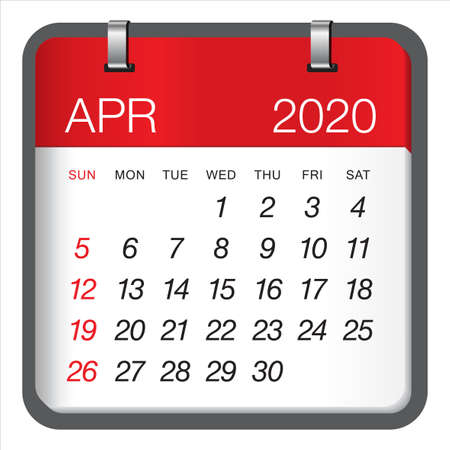 April 2020 monthly calendar vector illustration, simple and clean design. Vektoros illusztráció