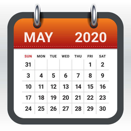 May 2020 monthly calendar vector illustration, simple and clean design.