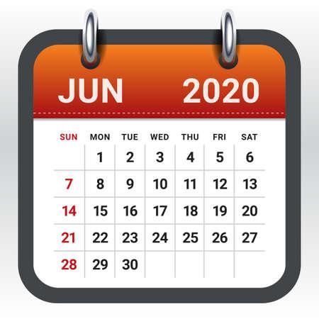 Illustration vectorielle du calendrier mensuel de juin 2020, design simple et épuré.