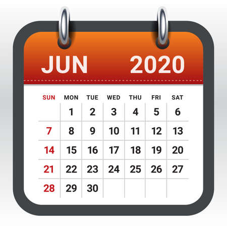 June 2020 monthly calendar vector illustration, simple and clean design. Ilustração