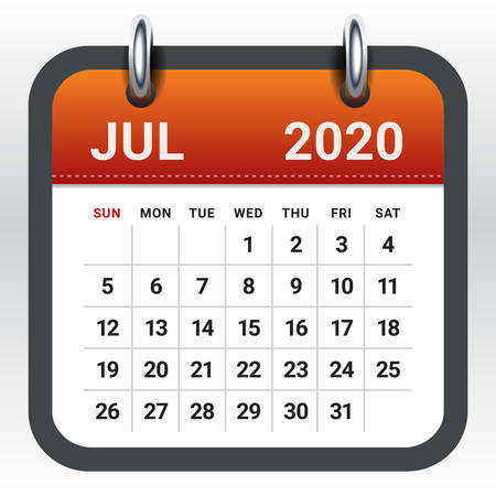 July 2020 monthly calendar vector illustration, simple and clean design. Ilustração